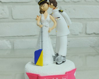 Navy theme custom wedding cake topper
