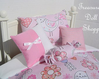 Doll Bedding 5 Pc Set for 18 Inch Dolls - Birds of a Feather