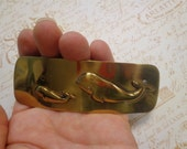 SALE - Vintage (Old Stock) Shiny Brass Metal Hair Clip/Barrette with Mom and Baby Whales