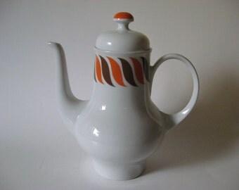 Shapely Kahla Germany mid century modern vintage teapot ceramic euro orange brown white