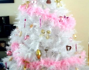 Christmas White Feather Garland Decoration Ornament Wreath - Pink Feather Christmas Tree
