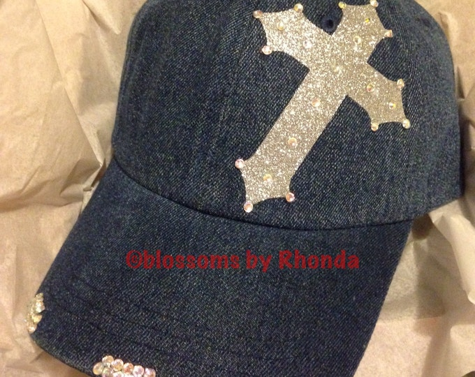 Personalized Womens Baseball Cap With Silverl Glitter Cross- Rhinestone Bling Cadet Trucker Cap, Religious Accessories, Rhinestone Cross Hat