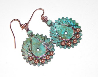 Copper Patina Wire Wrapped Earrings