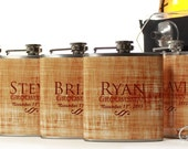 Gifts for Groomsmen, Set of 5 Flask Gift Sets, Outdoor Weddings, Distressed Tan