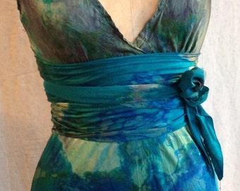 Turquoise long v neck wedding  dress with sash by momosoho for your wedding rehearsal dinner dresses