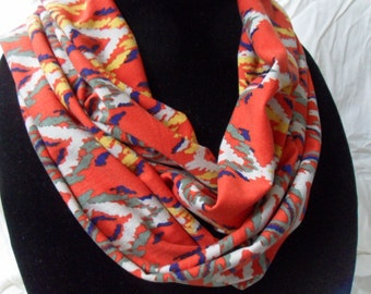 Red Aztek Pattern Jersey Knit Infinity Scarf// loop scarf// circle scarf