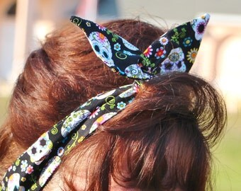 Dolly Bow Reversible Wire Headband Day of the Dead Sugar Skulls Polka Dots Rockabilly Flexible Hair Accessory Women Girls Teens