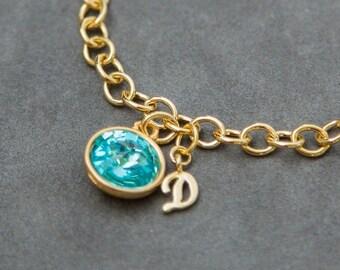 Gold New Mom Jewelry, Personalized Birthstone Bracelet Gold, Initial Birthstone Bracelet, Gift for Grandma Jewelry