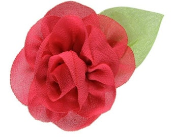 """2.25"""" Blossom Flower with Leaf Hot Pink"""