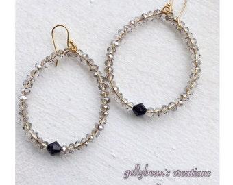 Grey Swarovski Crystal Hoop Earrings