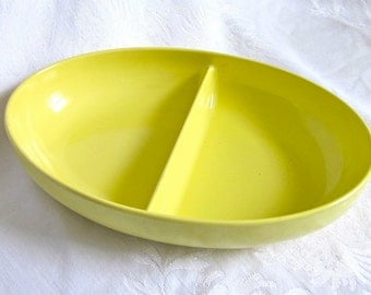 Mid Century Yellow Melamine Bowl Dish Watertown Divided Bowl Vintage Kitchen Dining Serving 1960s