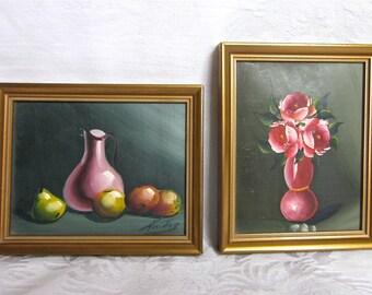 Miniature Oil Paintings Original Spanish Paintings Roses Fruit Hand Painted Signed Set of 2