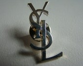 YSL Yves Saint Laurent Interlaced Letters Initals Pin Silver Collection