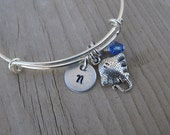 Stingray Bangle Bracelet- Adjustable Bangle Bracelet with Hand-Stamped Initial, Stingray Charm, and accent bead of choice- Personalized Gift