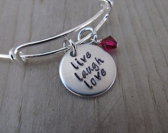 "Live Laugh Love Inspiration Bracelet- Hand-Stamped ""live laugh love"" Bracelet with an accent bead in your choice of colors"