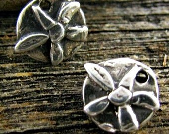 Sterling Silver Flower Charms - Organic Whimsy Charms - 2 Flowers - AC105