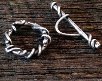 Sterling Silver Toggle Clasp - Rustic Wrapped Round Closure Perfect for Necklace or Bracelets - 21mm Oakhill Silver Supply AC191