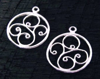 STERLING SILVER Round Charms - Chandeliers  or Pendants - Round with Scrolls  2 pieces 14.5mm  E41