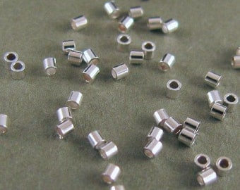 Sterling Silver Micro Crimp Tube Beads, 1mm round  x 1mm tall - 100 Small Crimps CR12