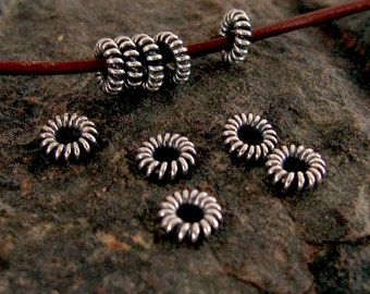 20 Small Wire Sterling Silver Spacer Beads - Twisted and Oxidized - 4.6mm MB11