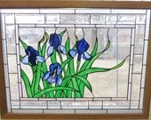 Stained Glass Window Panel Glass Art Purple Blue Iris Flowers Summer Garden Nature Interior Design Home Decor