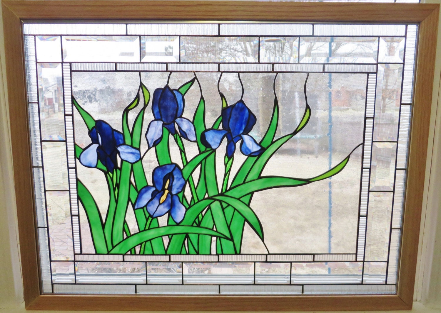Stained glass window panel glass art purple blue iris flowers for Window design art