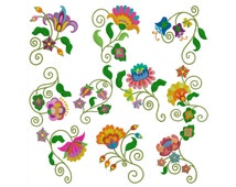 JACOBEAN FLOWERS - Machine Embroidery - Instant Digital Download