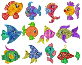 TROPICAL FISH - Machine Applique Embroidery - Instant Digital Download