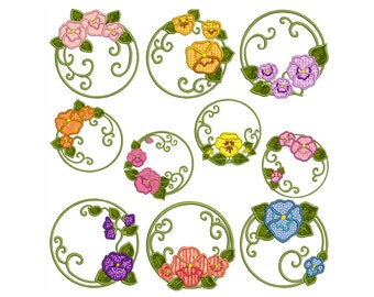 PANSY - Machine Applique Embroidery - Instant Digital Download