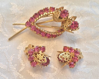 Gold Tone Filigree Pink Rhinestone Flower Brooch and Earrings