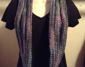 Hand Knit Scarf,Infinity Circle Scarf, cowl Multicolor Shetland Wool Blend,gifts for her