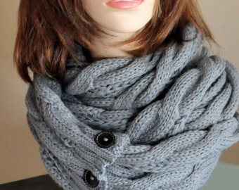 Chunky Scarf Women Scarf Long Scarf Gray Cabled Warm Winter Scarf Women Scarf Christmas Gift under 50