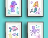 Mermaid art, girls bathroom art, teal purple pink nursery art, mermaid bedding art prints, children art prints