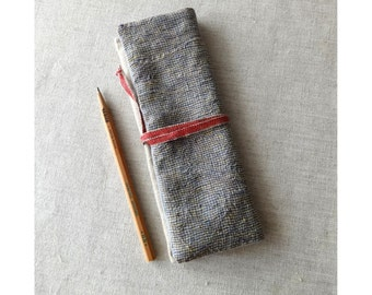 Pencil pouch ( small check + light brown + red ribbon ) linen cotton