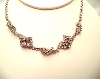 Vintage Twisty Clear Crystal Rhinestone Necklace Rhodium Plated