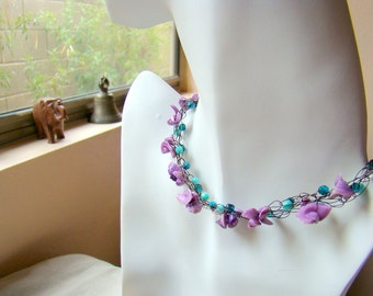 Purple Shell and Turquoise Glass Wire Crochet Necklace  Purple Necklace  Boho Jewelry  Gift for Her Gift for Mom - CR0018