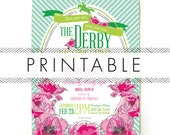 Derby Bridal Shower Invitation Printable in Pink