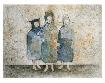 Girls watercolor  original illustration painting figurative people three woman