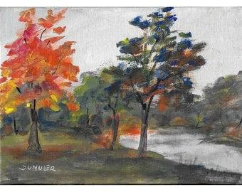 Early Autumn Colors 5x7 Original acrylic landscape painting
