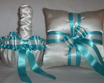 Ivory Cream Satin With Turquoise Ribbon Trim Flower Girl Basket And Ring Bearer Pillow Set 3
