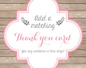 Thank You Card Design - Add a matching thank you card to any design in this shop
