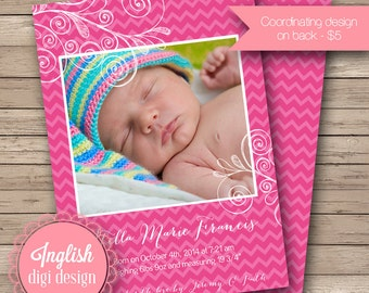 Chevron Flourish Birth Announcement, Chevron Baby Announcement, Printable Chevron Baby Photo Announcement - Chevron Flourish in Fuchsia