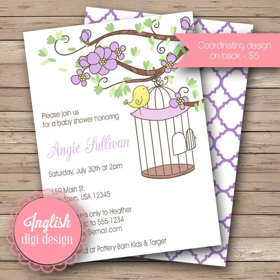 Floral Birdcage Baby Shower Invitation, Floral Baby Shower Invite, Printable, Birdcage Baby Shower Invitation in Purple, Yellow
