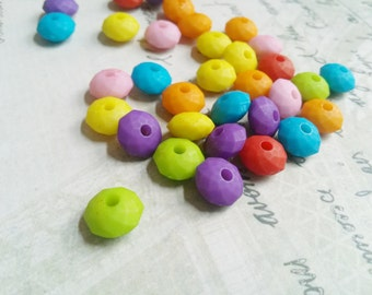 Bulk Beads Wholesale Beads Faceted Beads Assorted Beads Large Lot 50pcs 10mm x 6mm Abacus Beads