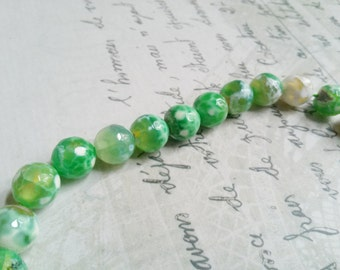 Gemstone Beads Authentic Fire Agate Beads 10mm Beads Greens Speckled 10 Pieces Green Beads Wholesale Beads