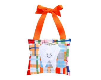 Tooth Fairy Pillow Boys Tooth Fairy Personalized Tooth Fairy Gift for Boys Personalized Tooth Fairy Pouch in Orange Madras Print