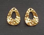 10pcs- Antique Gold Teardrop Pendant Charm Hammered.