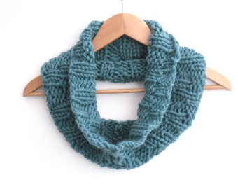 Blue Chevron Cowl scarf , fashion hand knitted 100% wool ,  chunky winter knit - turquoise knit , holiday knit ,  soft & warm accessory