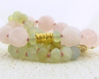 24k gold, Rose Quartz & New Jade Necklace - Gemstone Beads Necklace - Statment Necklace