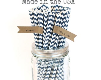 25 Navy Blue Paper Straws, Navy Chevron Straws, Made in USA, Vintage Wedding, Rustic Wedding, Baby Shower, Superhero Party, Cake Pop Sticks